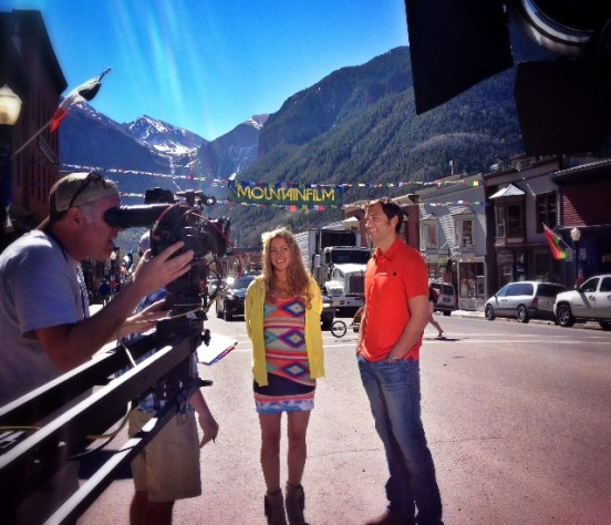 David LaHuta and Lynsey Dyer filming Mountainfilm in Telluride
