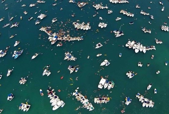 Aerial view of 2013 Non Mariners flotilla in Bermuda